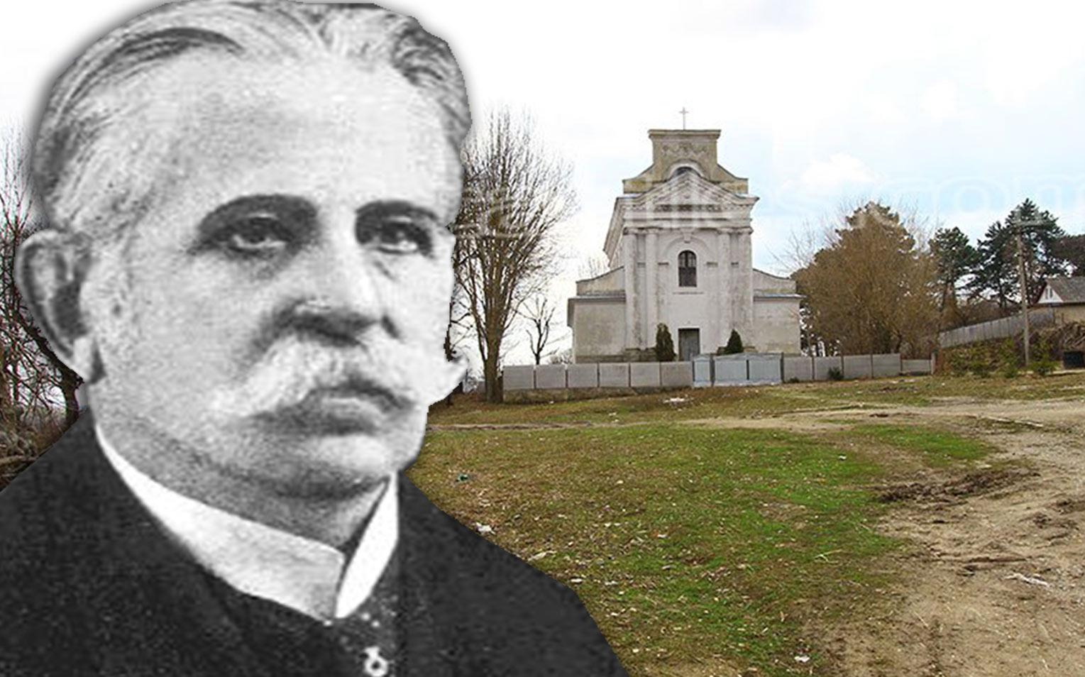 Stanisław Starzyński. W tle - kościół w Zamiechowie na Podolu