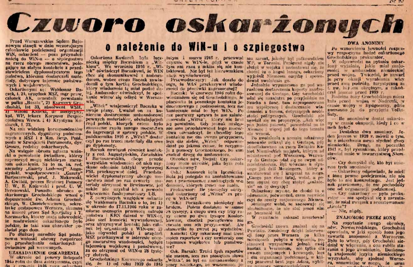 Skan gazety z czasów PRL, w której opisano proces Ksawerego hr. Grocholskiego.
