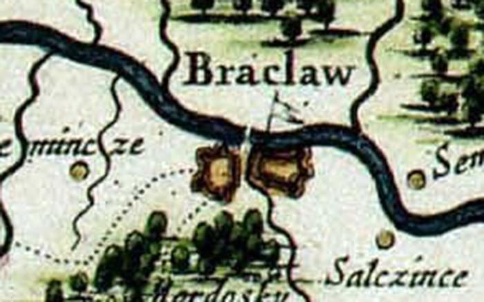 Fragment starej mapy Podola z połowy XVII wieku