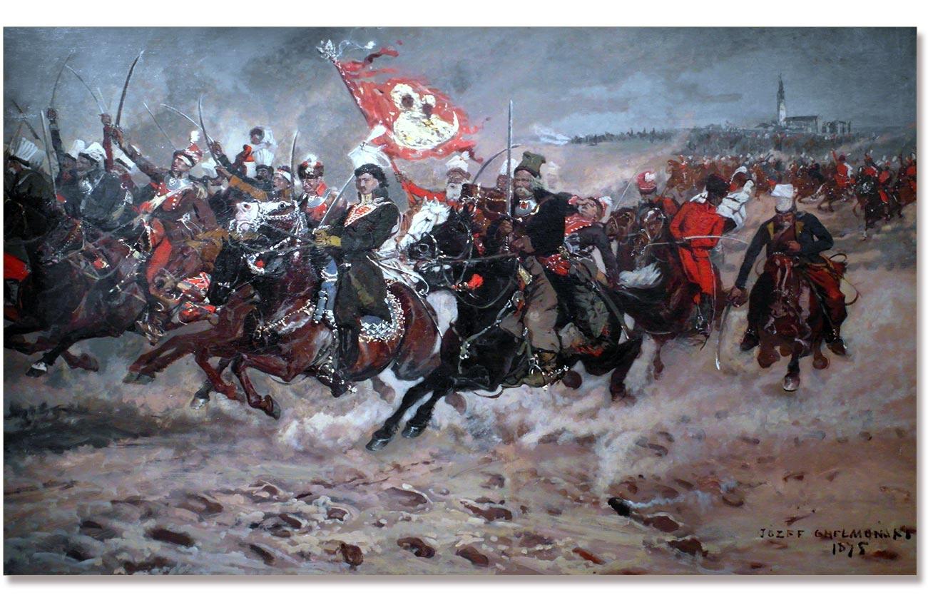 Szarża kawalerii Kazimierza Pułaskiego pod Częstochową. Obraz Józefa Chełmońskiego z 1875 roku
