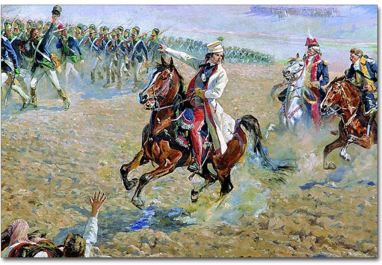 Fragment Panoramy Racławickiej z Kościuszkiem na koniu