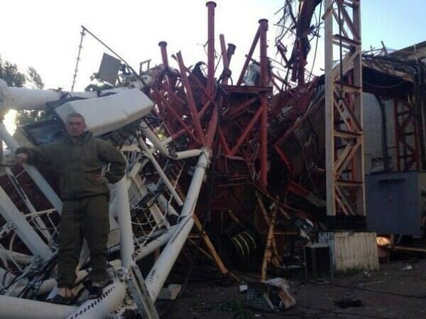 Zniszczona przez terrorystów wieża telewizyjna w Sławiańsku. Źródło - Twitter