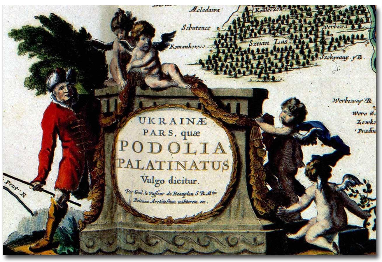 Fragment starej mapy Boplana z XVII wieku