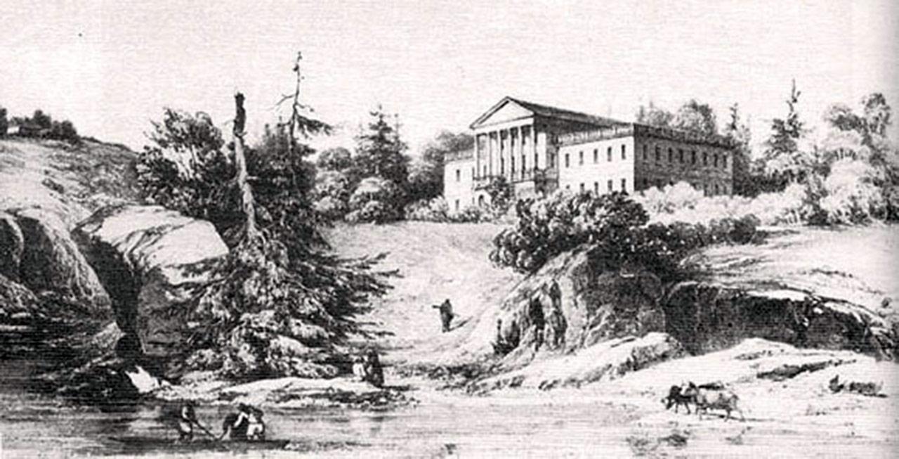 Pałac Grocholskich w Strzyżawce. Szkic N. Ordy