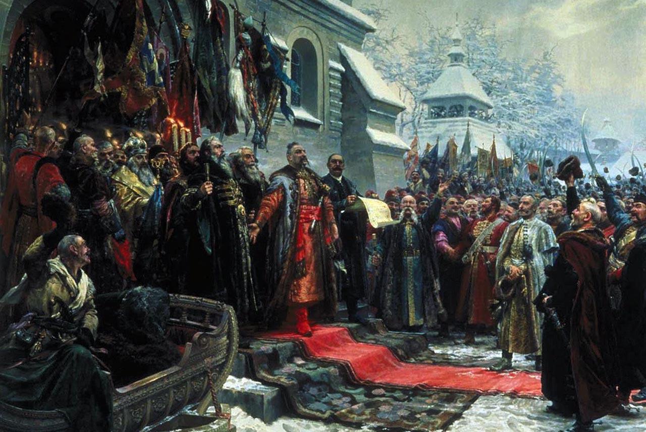 Ugoda Perejasławska. Bohdan Chmielnicki oddaje Ukrainę pod protektorat Rosji. Źródło - malarstwo-historia.blogspot.com