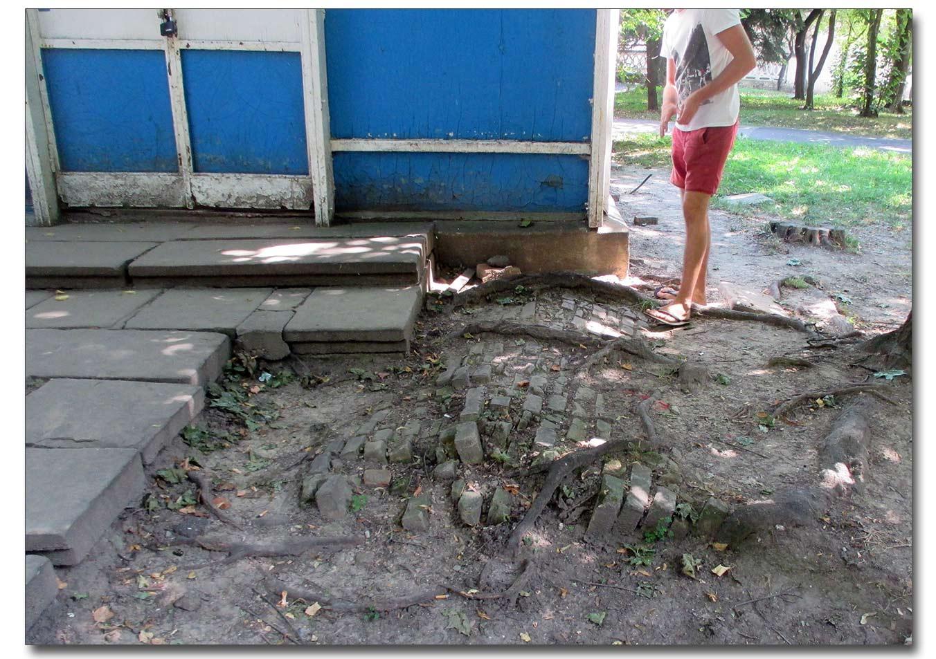 Wystający fragment grobowca w winnickim parku rozrywki przy klubie szachowym