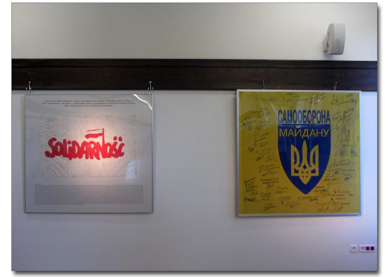 Flaga Solidarności i Samoobrony w Muzeum Stoczni Gdańskiej