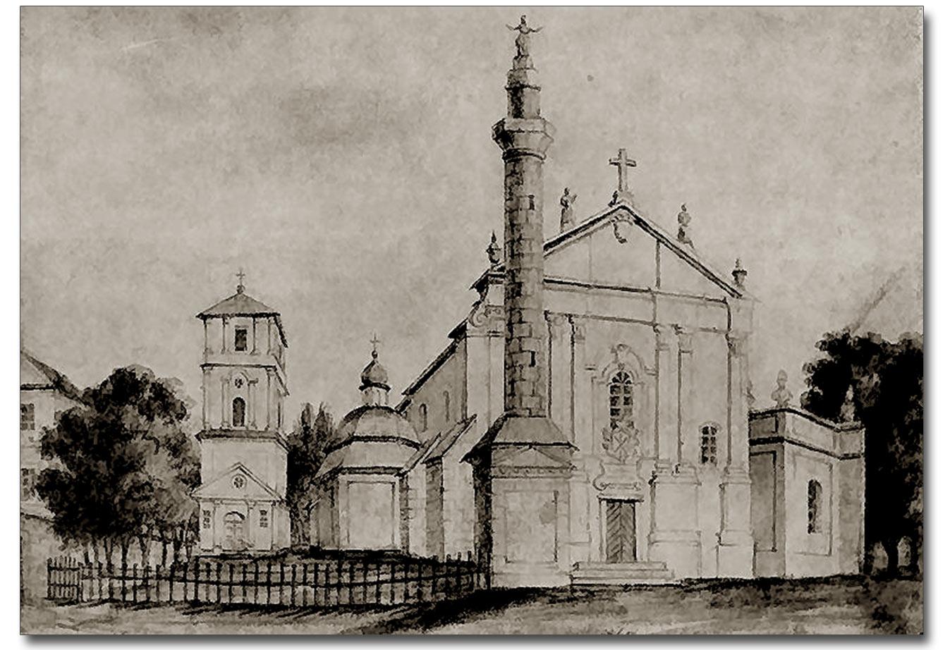 Szkic katedry Św. Piotra i Pawła w Kamieńcu Podolski autorstwa Napoleona Ordy. 1765 r.