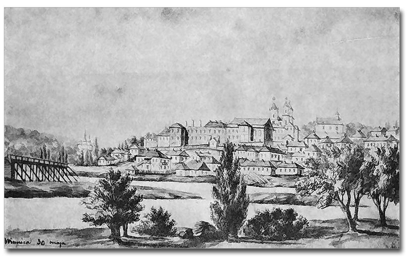 Winnica. Widok na miasto. Szkic N. Ordy z 1870r.