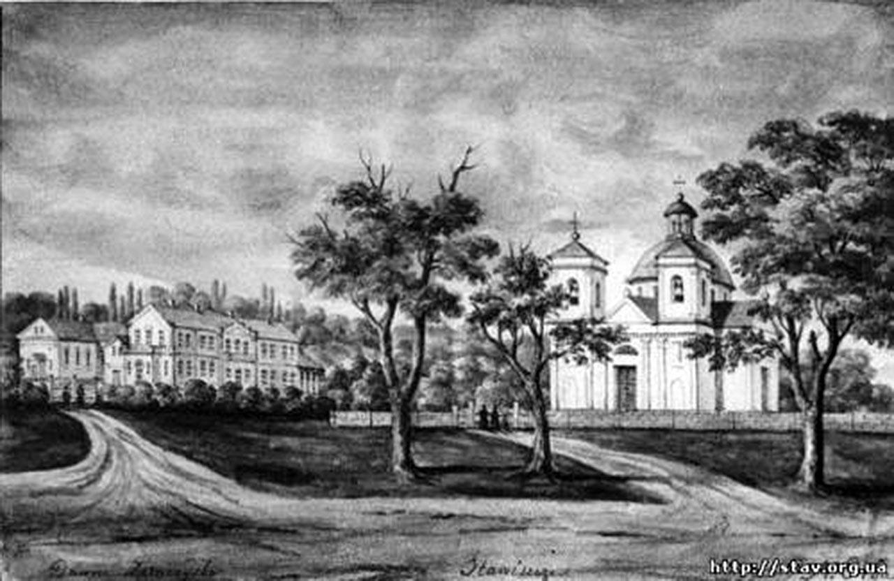 Pałac i kościół w Stawiszczu. Szkic Napoleona Ordy z 1884 roku