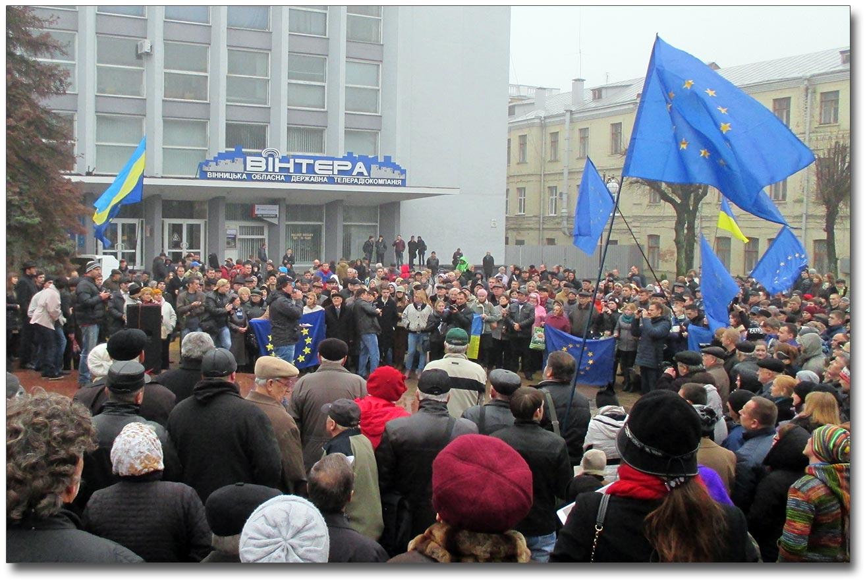 Jeden z pierwszych Majdanów w Winnicy, który odbył się 24 listopada 2013 roku, jeszcze przed szczytem w Wilnie