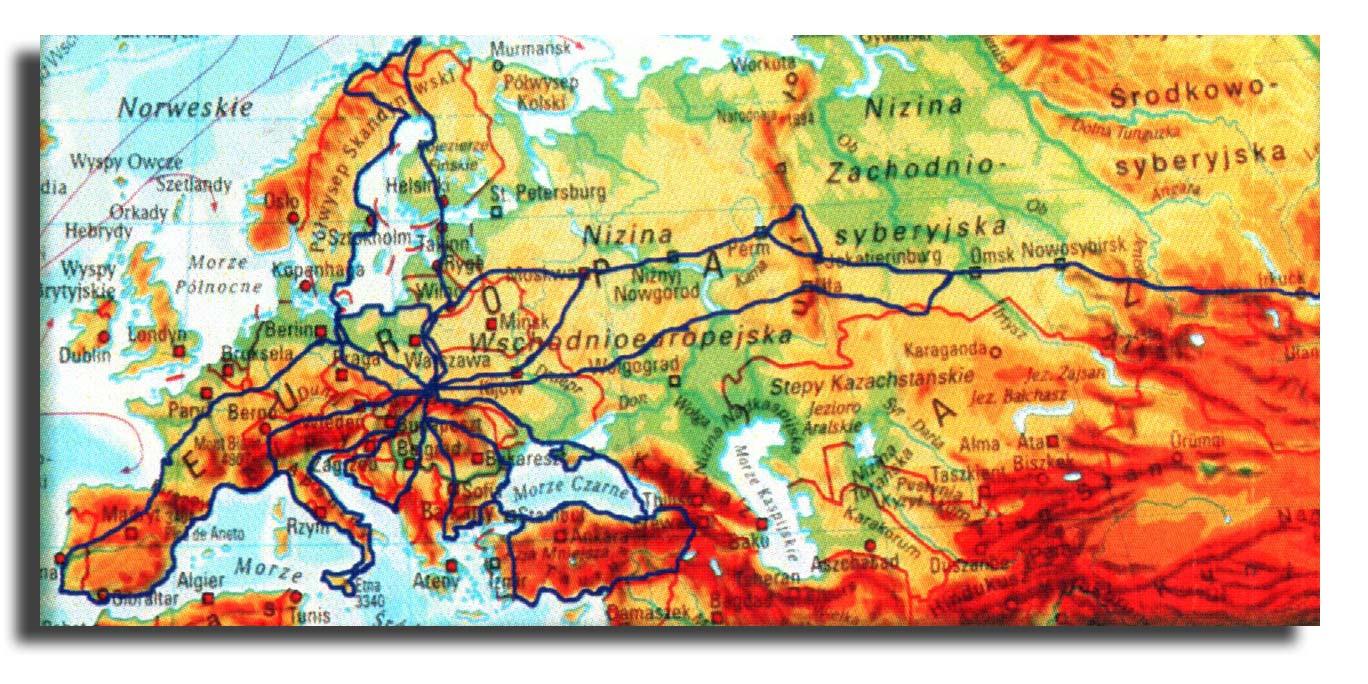 Mapa Europy i Azji z zaznaczeniem trasy, którą pokonał Pan Tomasz