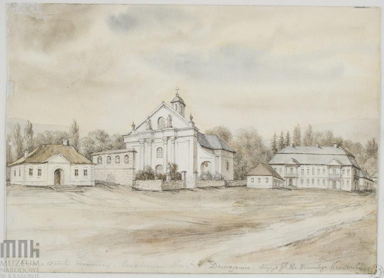 Kościół parafialny w Dunajowcach (druga połowa XIX w.). Zdjęcie pobrano z http://katalog.muzeum.krakow.pl