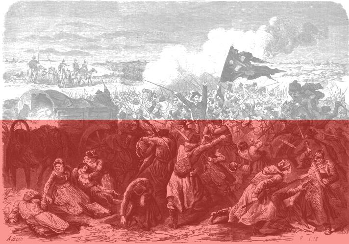 Walka powstańców styczniowych z carską armią w 1863 roku na Wołyniu. Źródło - Wilipedia