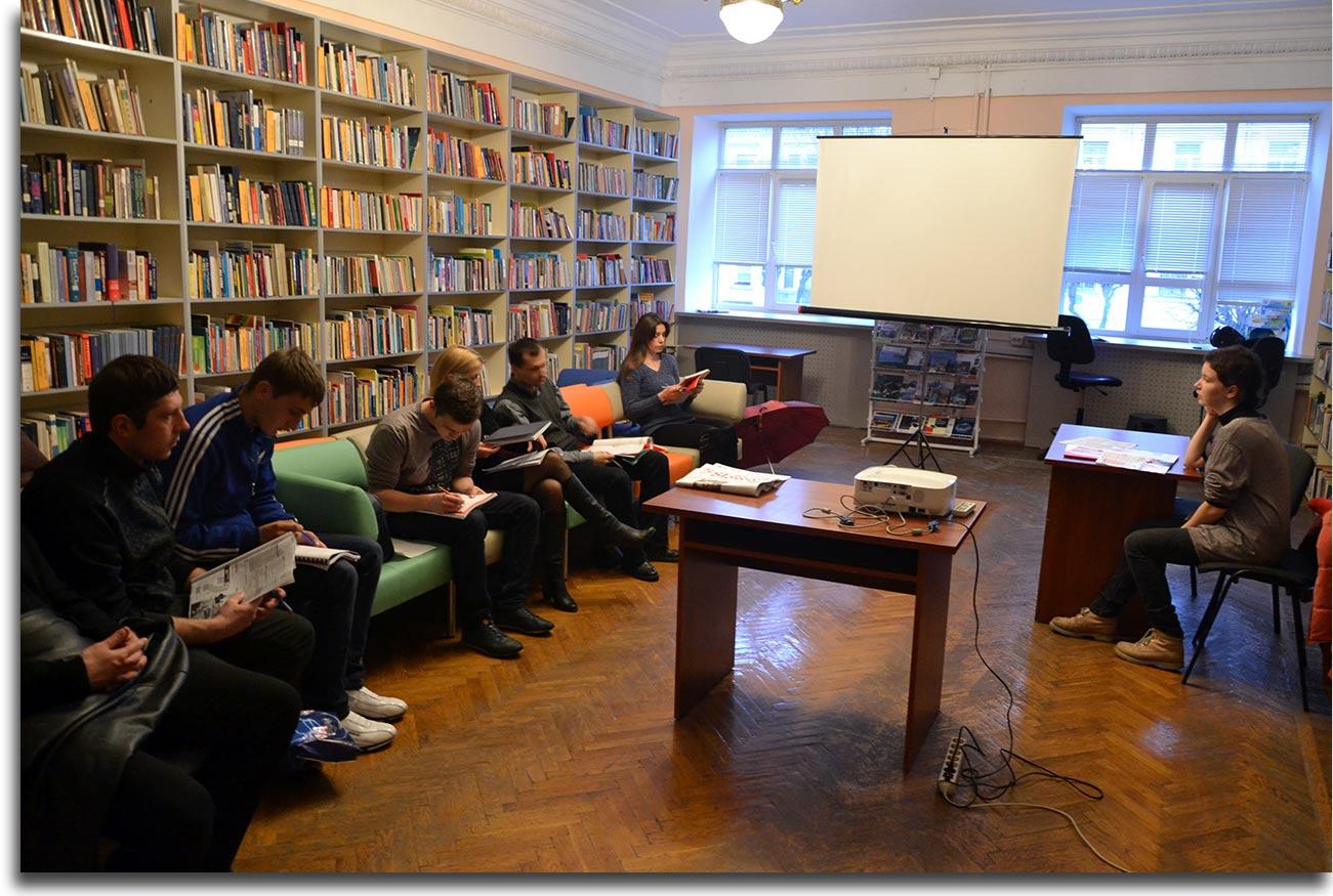 Zajęcia Klubu Polskiego w bibliotece Timiriaziewa