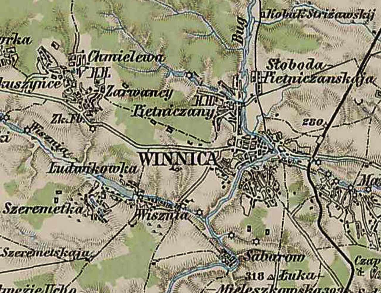 Mapa Winnicy i okolic z 1910 roku