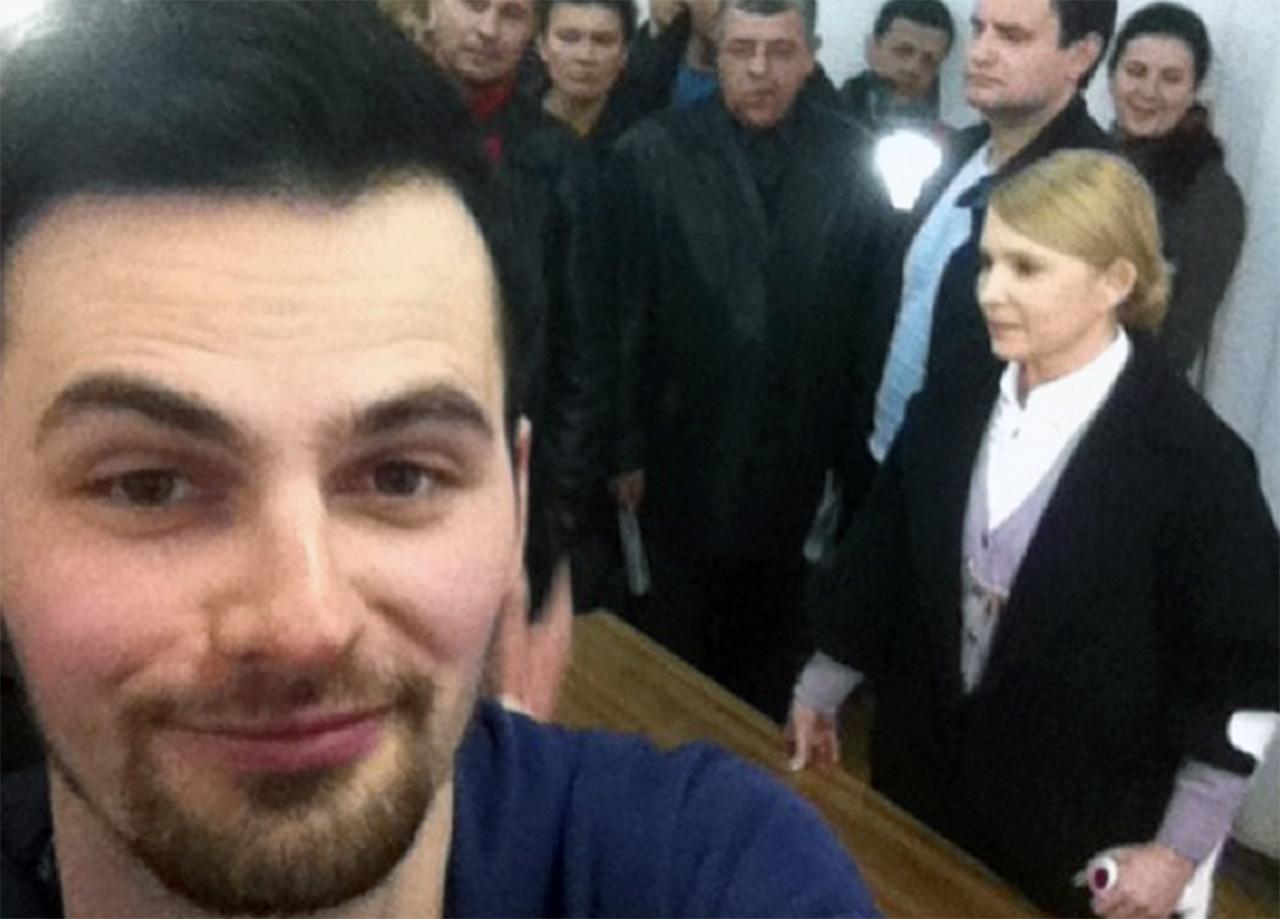 Mikołaj Bachur na spotkaniu dziennikarzy z Julią Tymoszenko w Winnicy